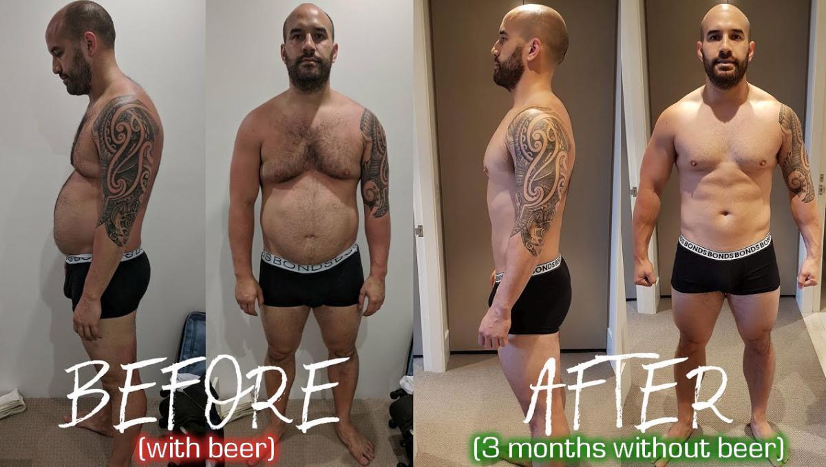 със или без бира - преди и след 3 месеца без бира